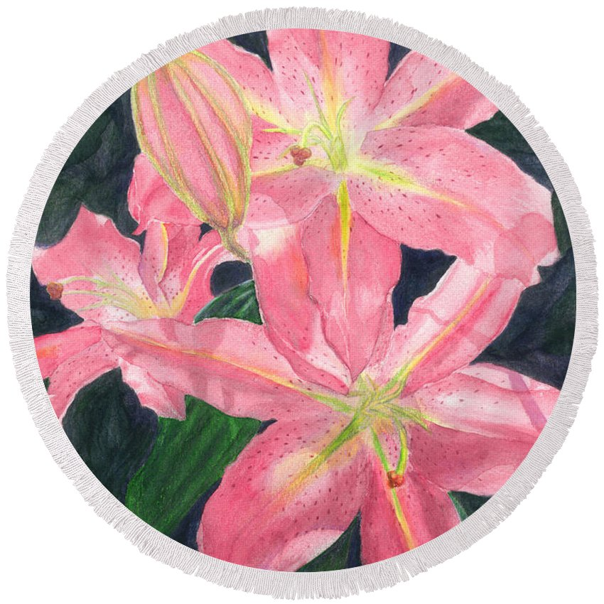 Floral Round Beach Towel featuring the painting Sunlit Lilies by Lynn Quinn