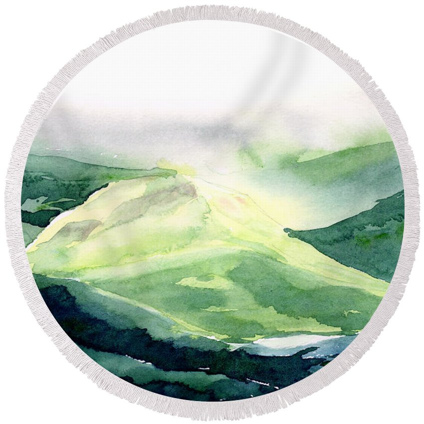 Landscape Round Beach Towel featuring the painting Sunlit Mountain by Anil Nene
