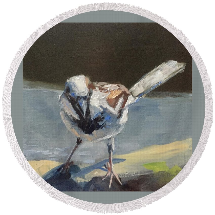 Bird Round Beach Towel featuring the painting Sunlit Sparrow by Gary Bruton