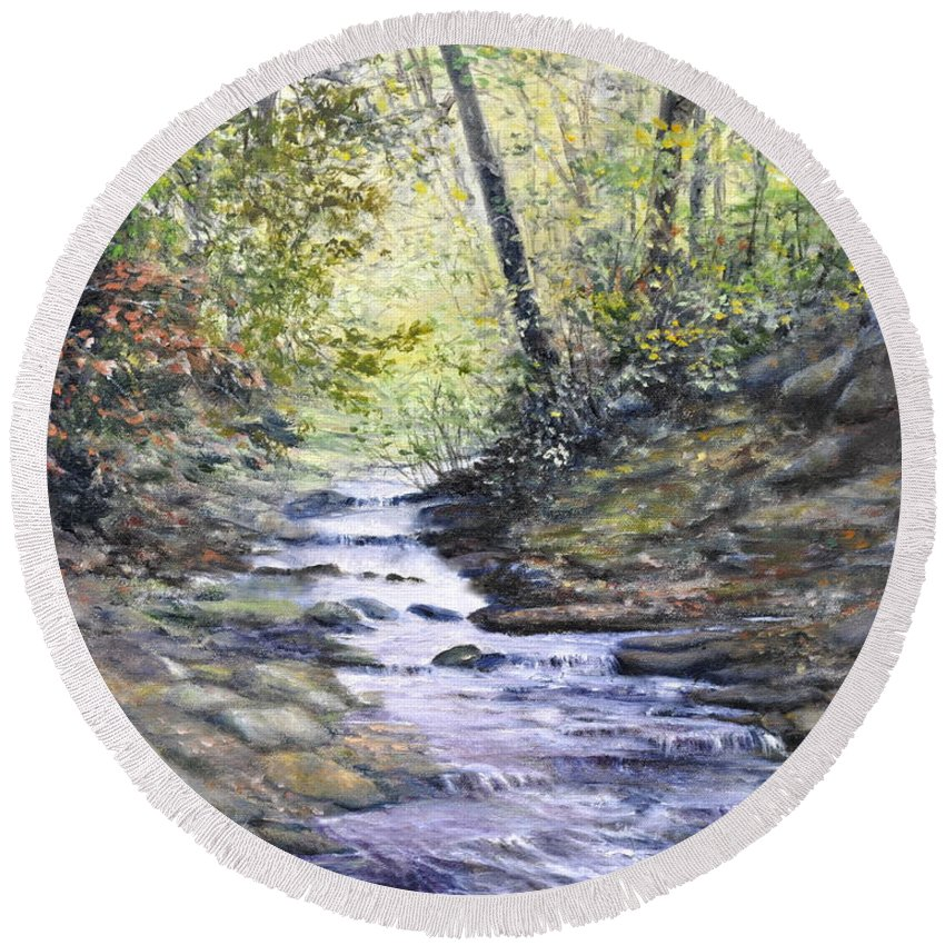 Nature Round Beach Towel featuring the painting Sunlit Stream by Penny Neimiller