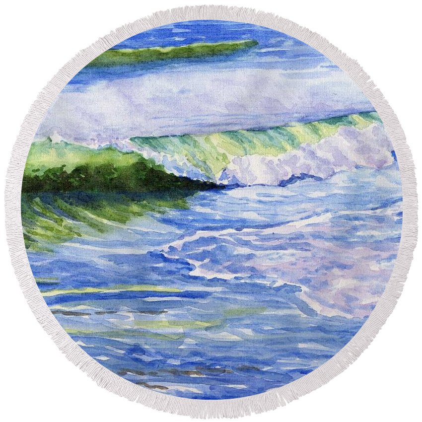 Seascape Round Beach Towel featuring the painting Sunlit Surf by Sharon E Allen