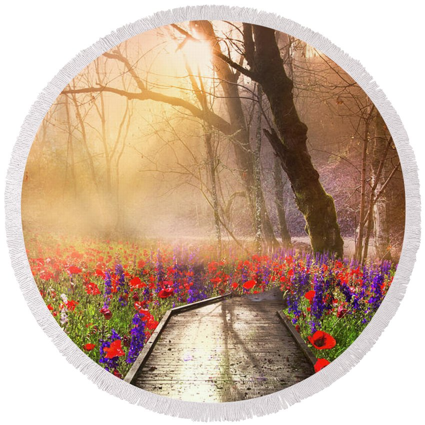 Appalachia Round Beach Towel featuring the photograph Sunlit Wildflowers by Debra and Dave Vanderlaan