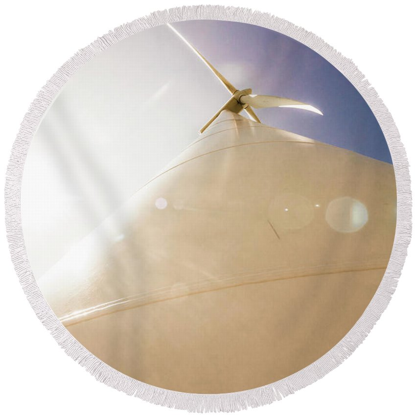 Wind Round Beach Towel featuring the photograph Sunlit Wind Power by Jorgo Photography - Wall Art Gallery