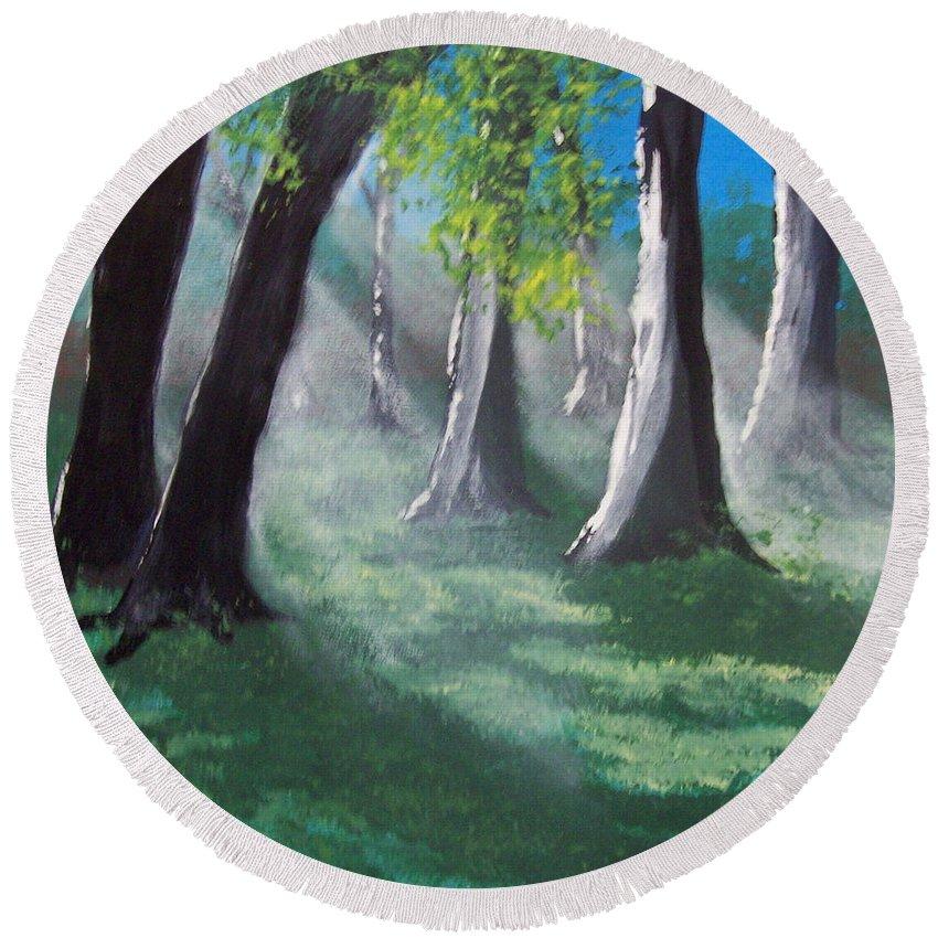 Primitive Round Beach Towel featuring the painting Sunlit Woods by Susan Michutka