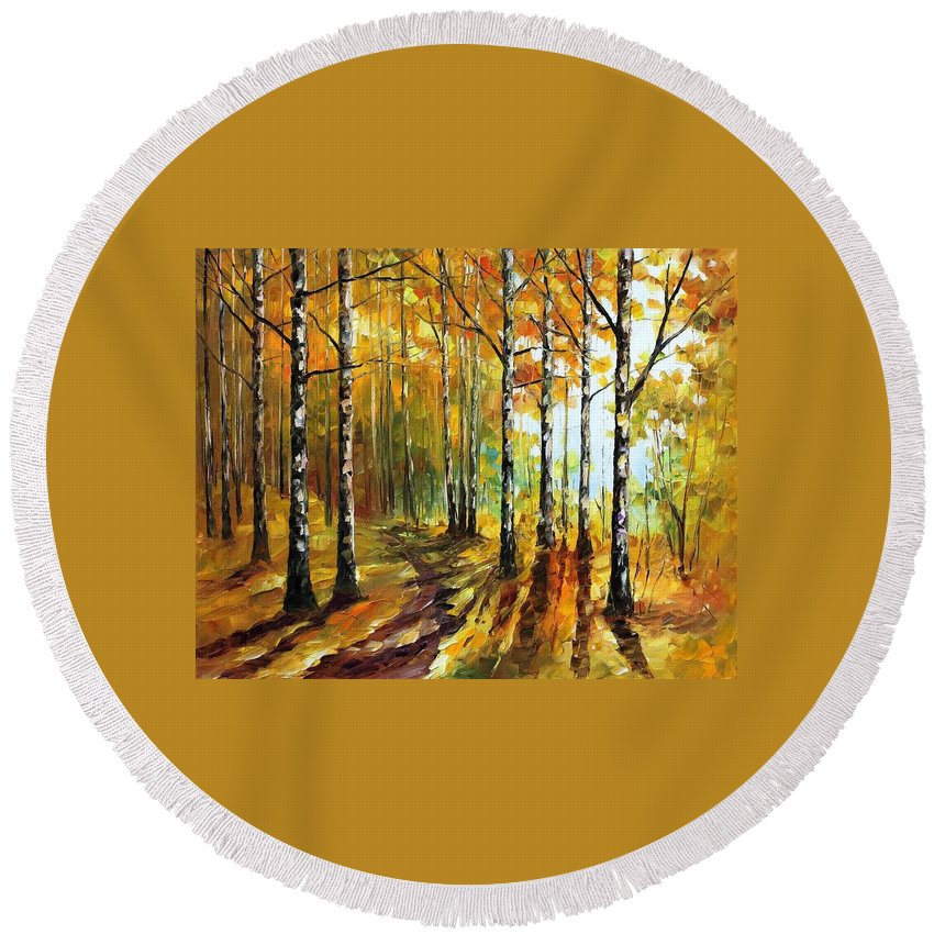 Afremov Round Beach Towel featuring the painting Sunny Birches by Leonid Afremov