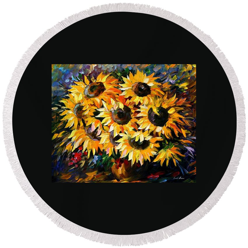 Floral Round Beach Towel featuring the painting Sunny Bouquet by Leonid Afremov