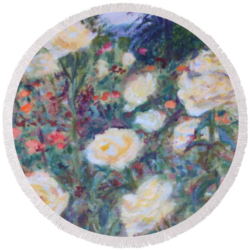 Quin Sweetman Round Beach Towel featuring the painting Sunny Day At The Rose Garden by Quin Sweetman