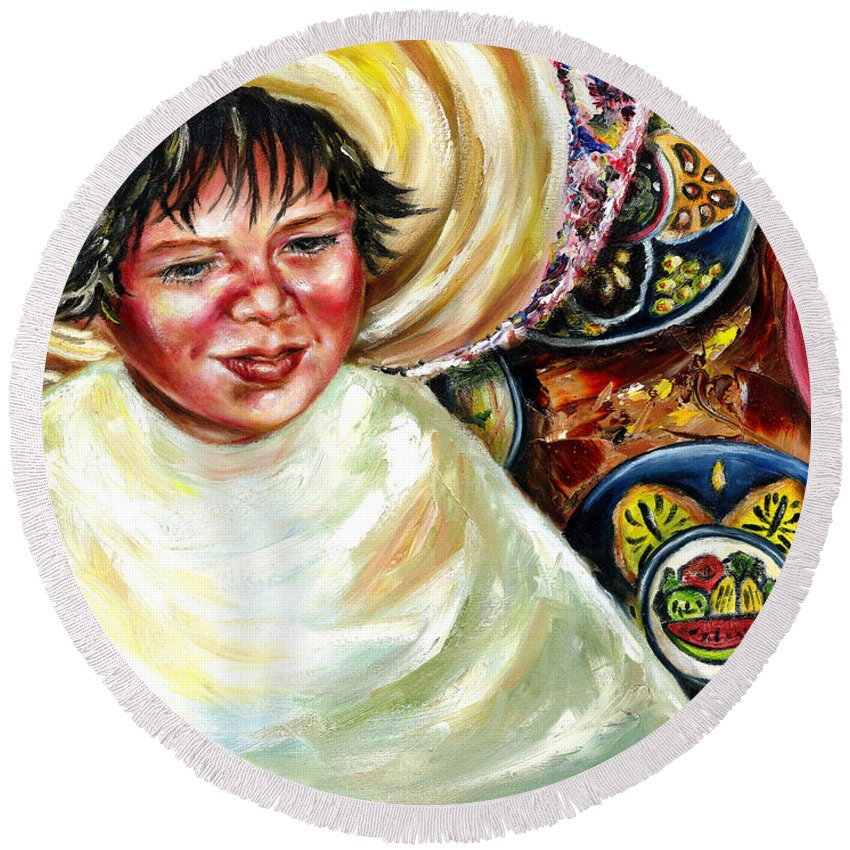 Child Round Beach Towel featuring the painting Sunny Day by Hiroko Sakai