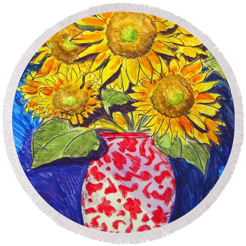 Sunflower Round Beach Towel featuring the painting Sunny Disposition by Jean Blackmer