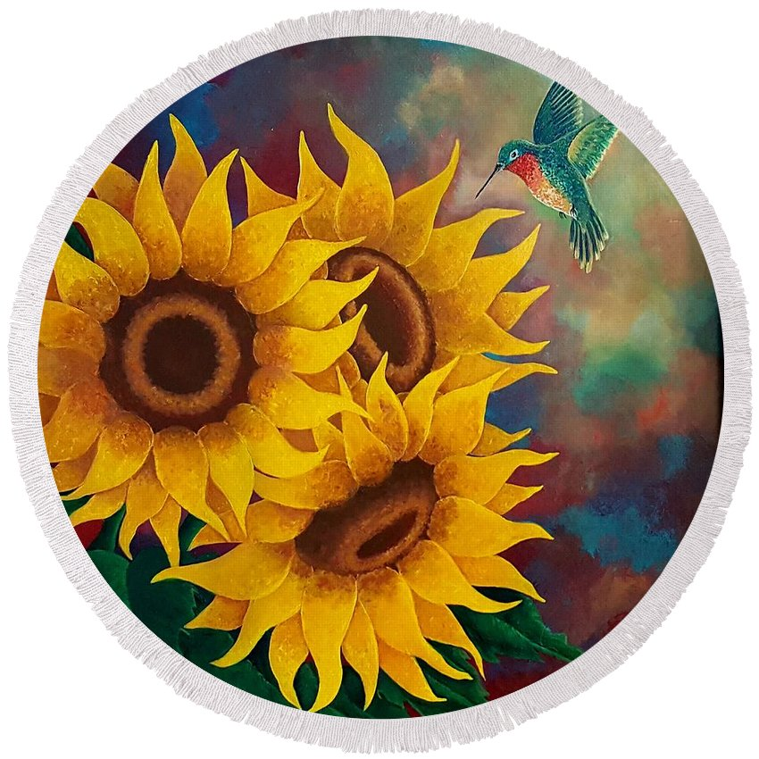 Sunflower Round Beach Towel featuring the painting Sunny Faces by Deborah Heins