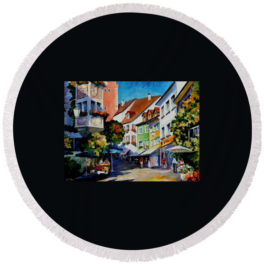 Afremov Round Beach Towel featuring the painting Sunny Meersburg - Germany by Leonid Afremov