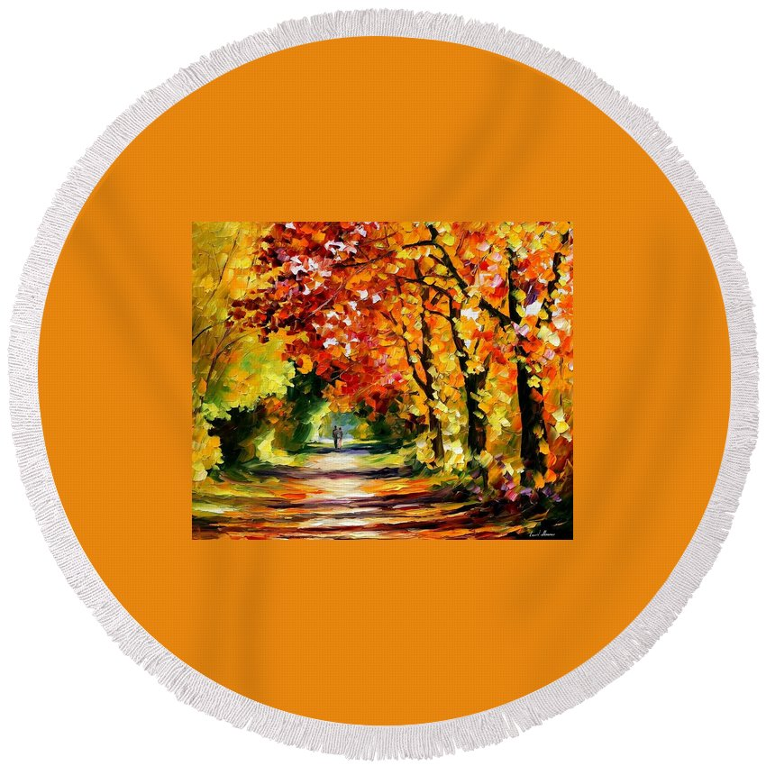 Afremov Round Beach Towel featuring the painting Sunny Path by Leonid Afremov