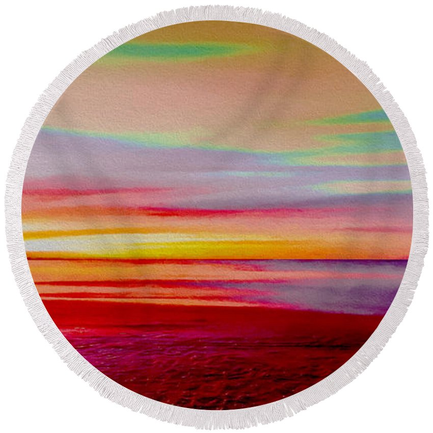Abstract Round Beach Towel featuring the digital art Sunrise 4 by Ed Churchill