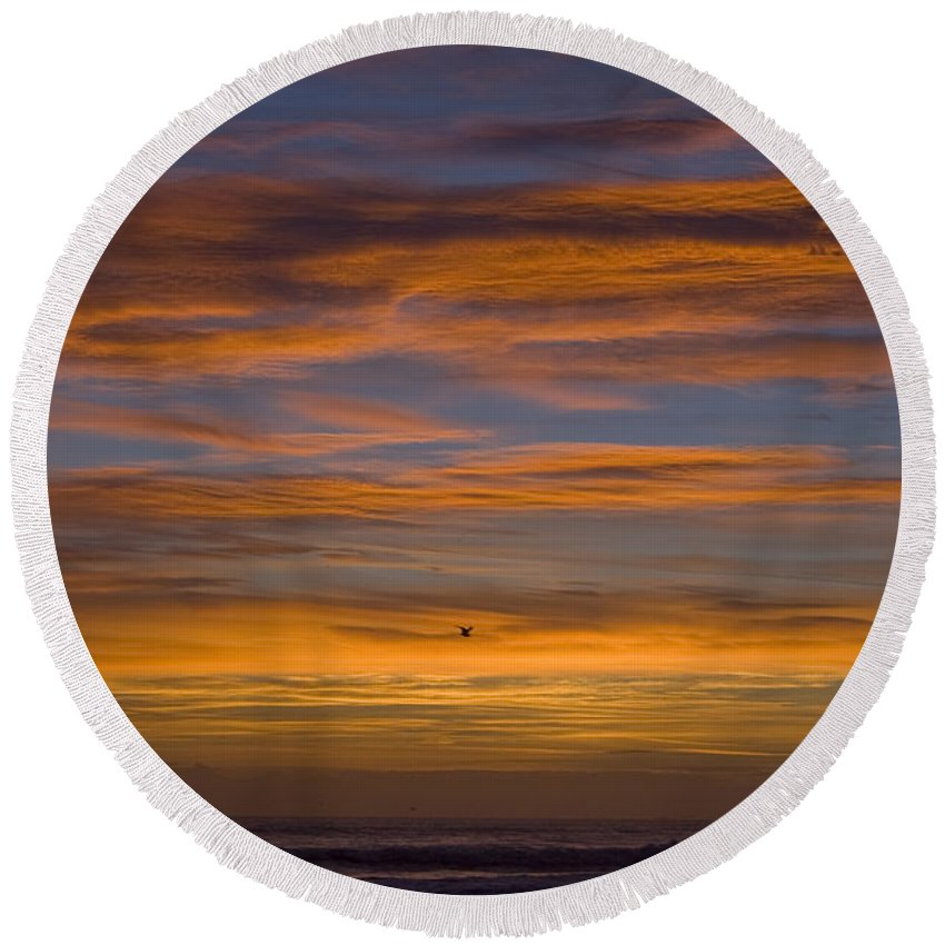 Sun Sunrise Cloud Clouds Morning Early Bright Orange Bird Flight Fly Flying Blue Ocean Water Waves Round Beach Towel featuring the photograph Sunrise by Andrei Shliakhau