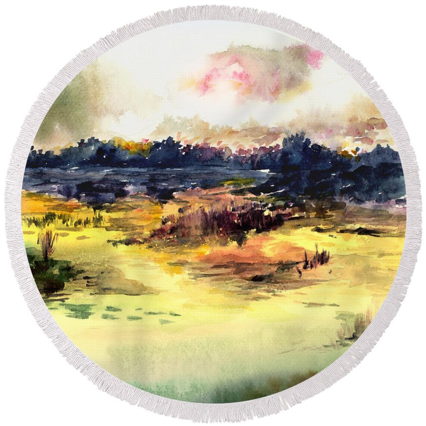 Landscape Water Color Sky Sunrise Water Watercolor Digital Mixed Media Round Beach Towel featuring the painting Sunrise by Anil Nene