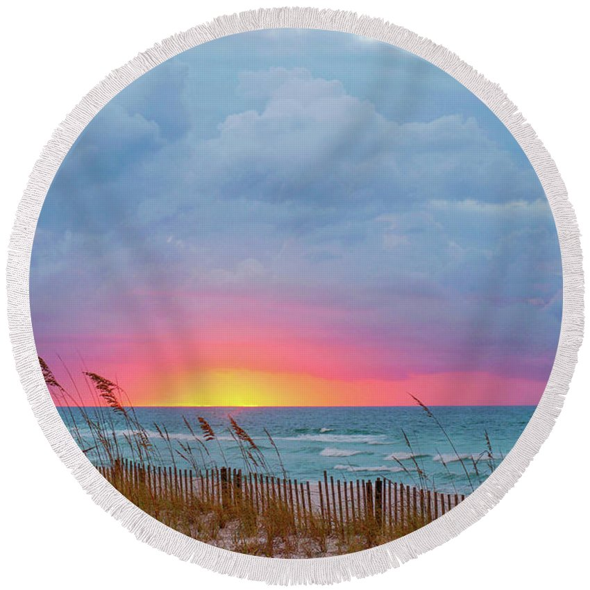 Seascape Round Beach Towel featuring the photograph Sunrise by Anita Duff