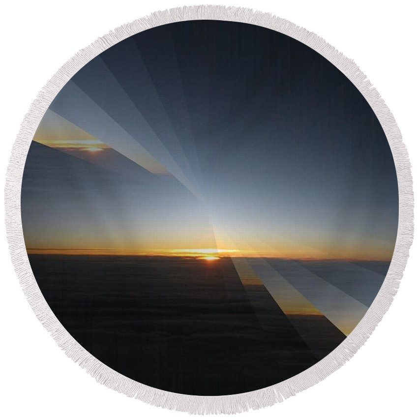 Sunrise Round Beach Towel featuring the photograph Sunrise At 30k 4 by Tim Allen
