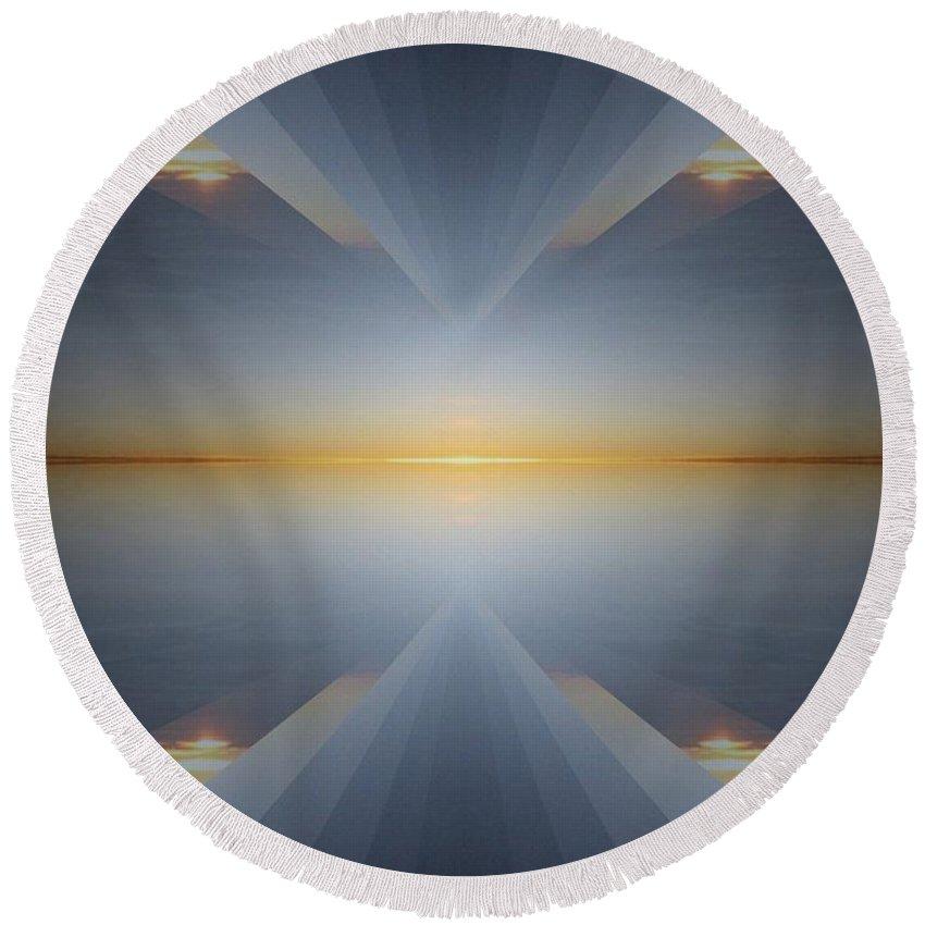 Sunrise Round Beach Towel featuring the digital art Sunrise At 30k 5 by Tim Allen
