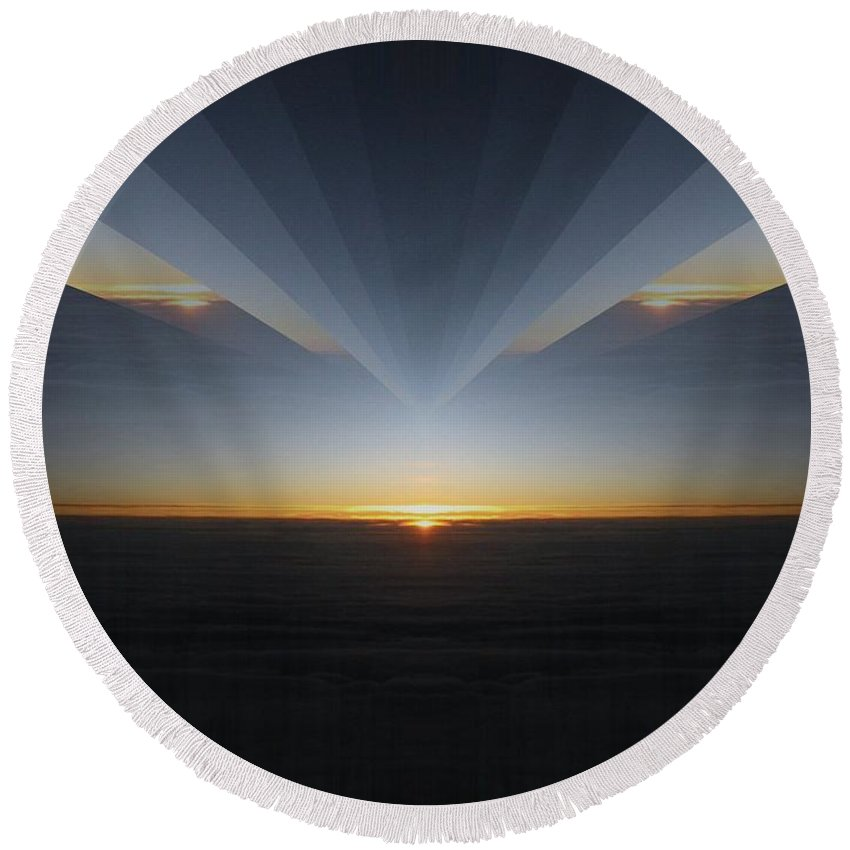 Sunrise Round Beach Towel featuring the photograph Sunrise At 30k 7 by Tim Allen