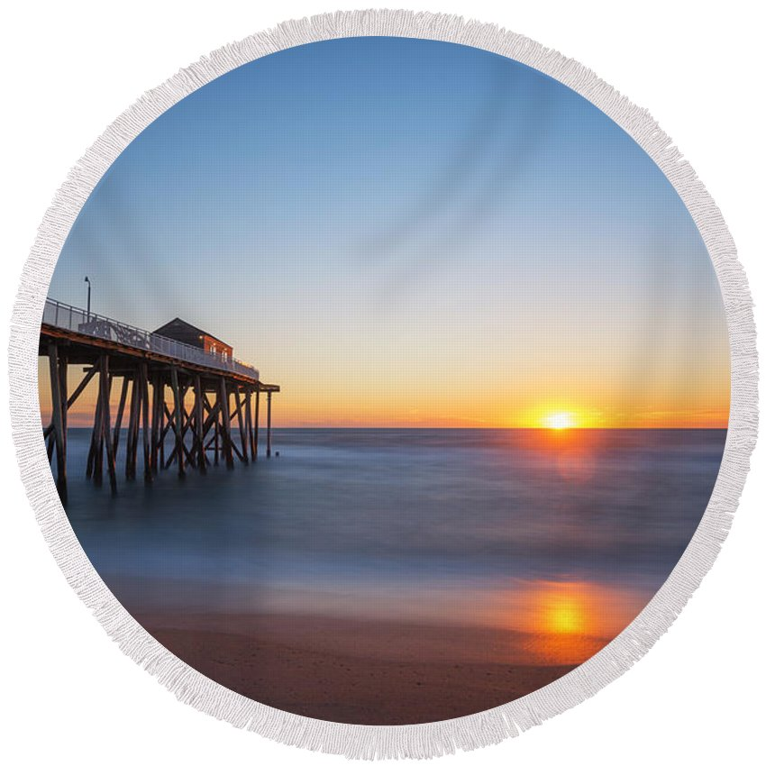 Fishing Pier Sunrise Round Beach Towel featuring the photograph Sunrise At Belmar New Jersey by Michael Ver Sprill