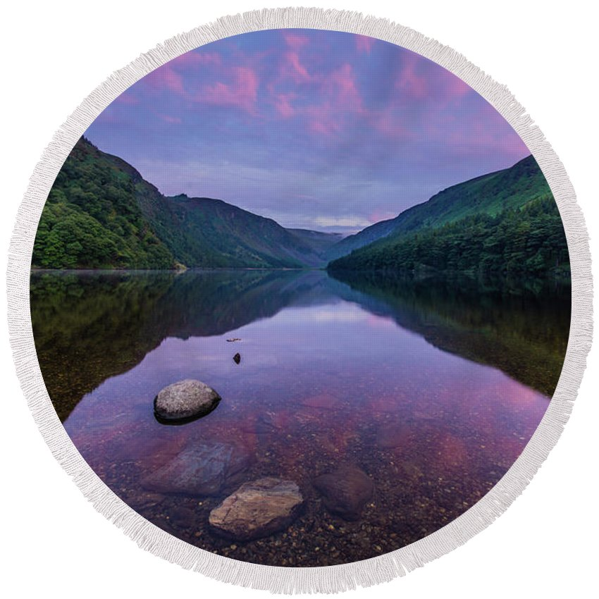 Sunrise Round Beach Towel featuring the photograph Sunrise at Glendalough Upper Lake #1, County Wicklow, Ireland by Anthony Lawlor