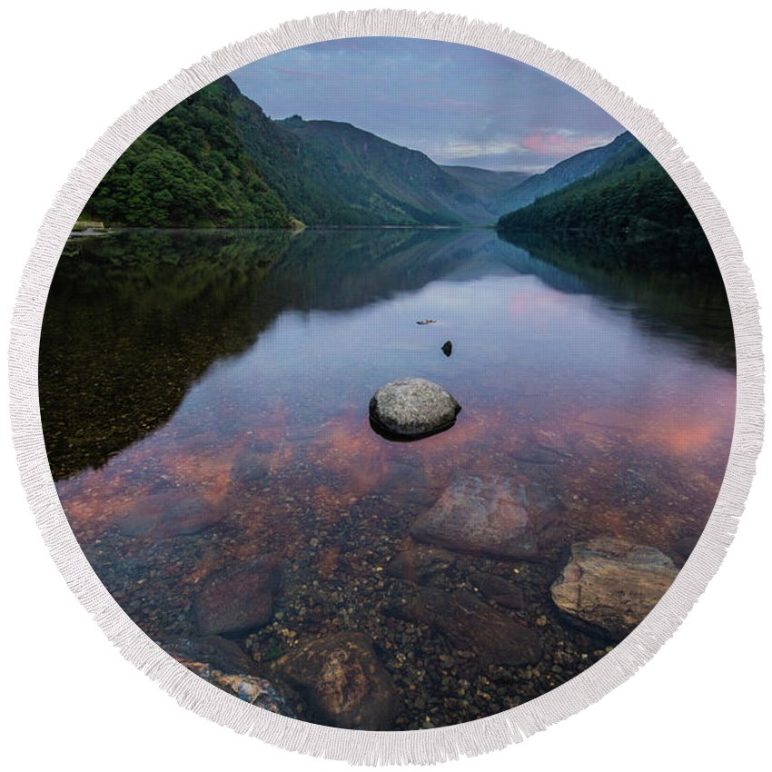Sunrise Round Beach Towel featuring the photograph Sunrise at Glendalough Upper Lake #2, County Wicklow, Ireland by Anthony Lawlor