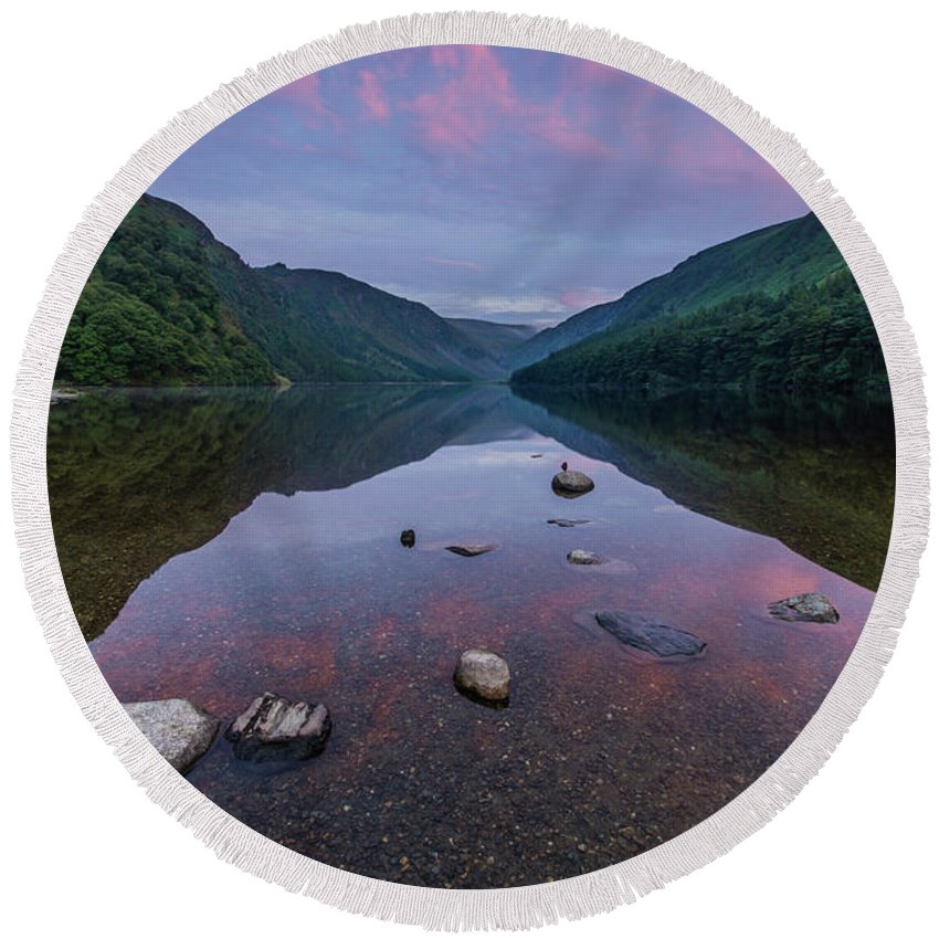 Sunrise Round Beach Towel featuring the photograph Sunrise at Glendalough Upper Lake #3, County Wicklow, Ireland. by Anthony Lawlor