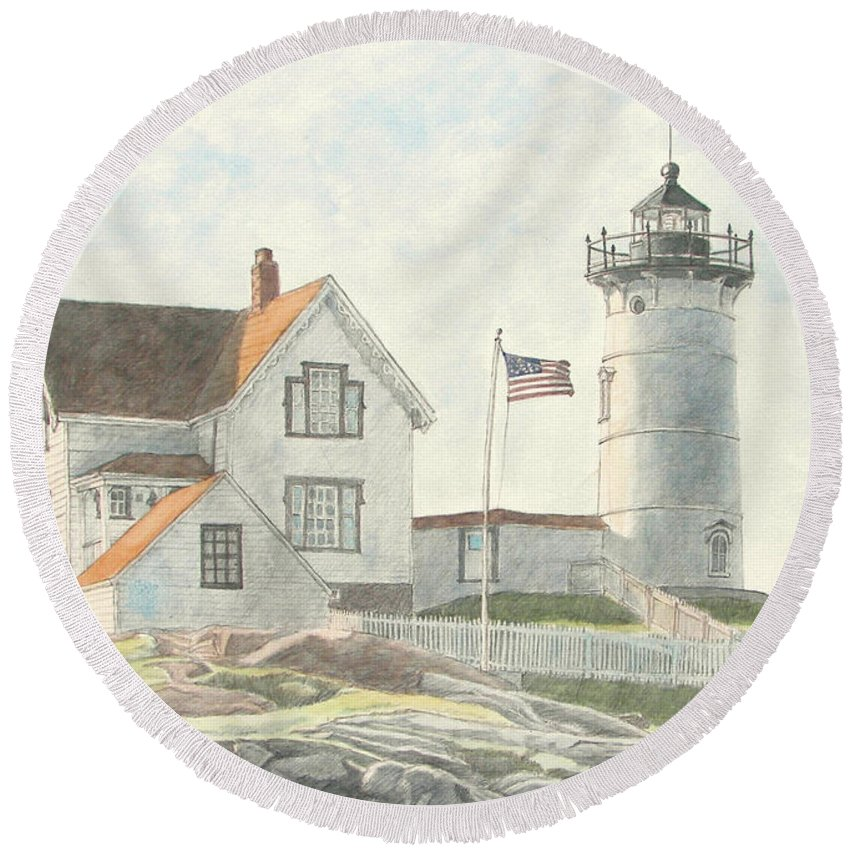 Watercolor Round Beach Towel featuring the painting Sunrise At Nubble Light by Dominic White