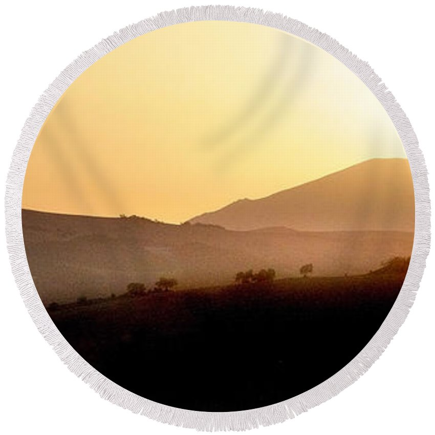 Landscape Round Beach Towel featuring the photograph Sunrise At Pastelero Near Villanueva De La Concepcion Malaga Region Spain by Mal Bray