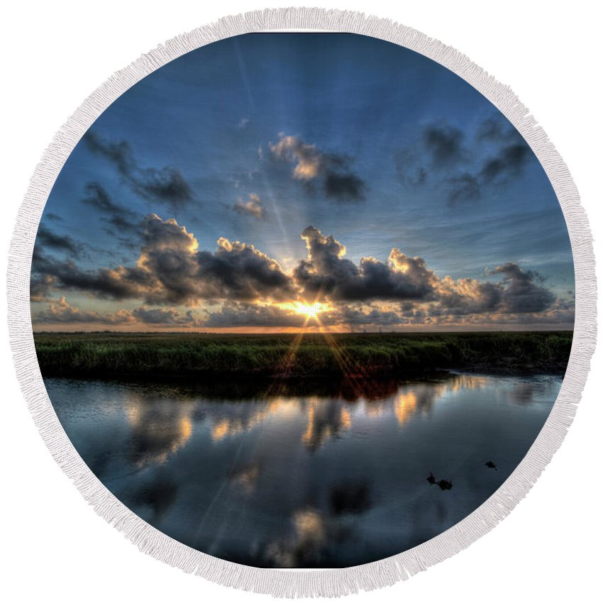 Hdr Round Beach Towel featuring the photograph Sunrise At Sabine Pass by Tommy Lyles