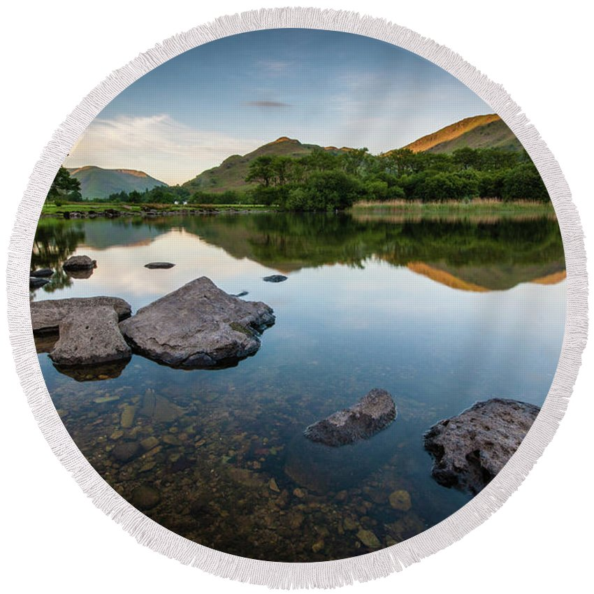 Lake District Round Beach Towel featuring the photograph Sunrise at Ullswater, Lake District, North West England by Anthony Lawlor