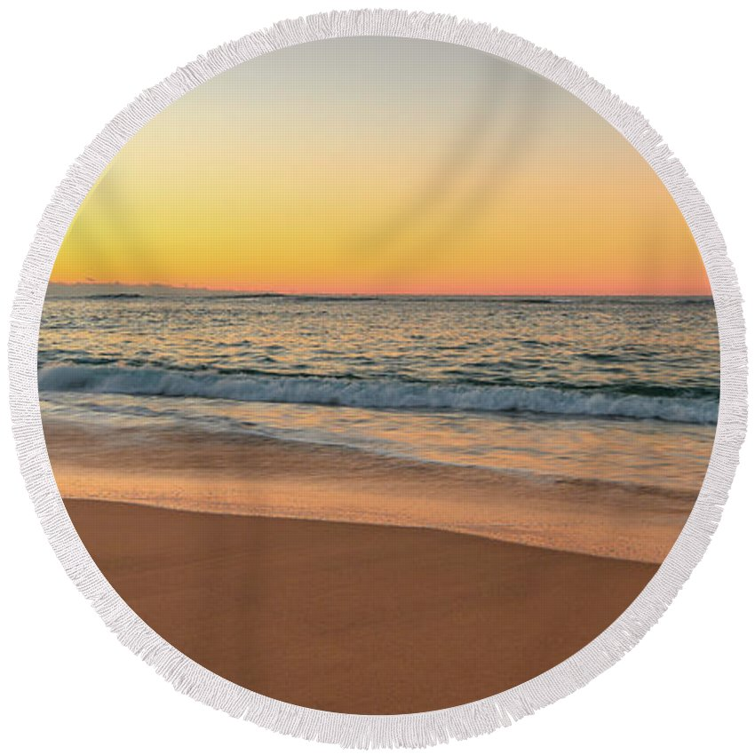 Forresters Beach Round Beach Towel featuring the photograph Sunrise Beach Seascape by Merrillie Redden