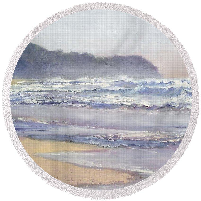 Sunrise Beach Round Beach Towel featuring the painting Sunrise Beach Sunshine Coast Queensland Australia by Chris Hobel