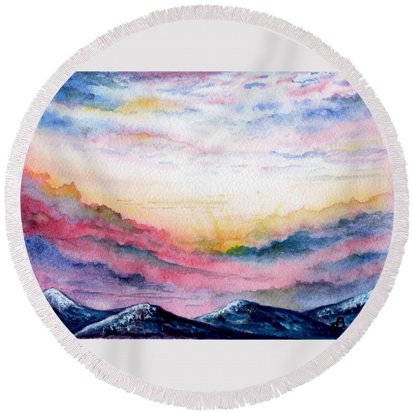 Watercolor Round Beach Towel featuring the painting Sunrise by Brenda Owen
