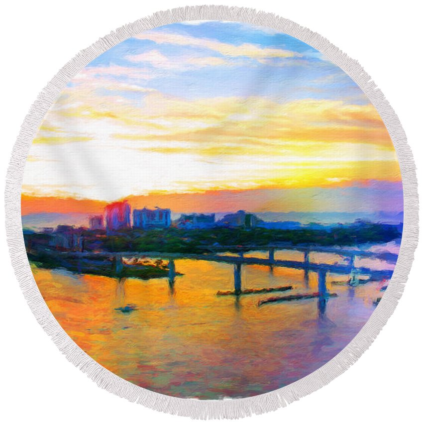 Halifax River Round Beach Towel featuring the photograph Sunrise Colors Over The Halifax by Alice Gipson
