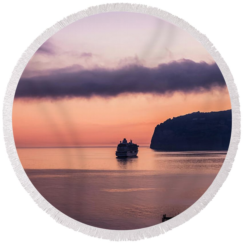 Italy Round Beach Towel featuring the photograph Sunrise Departure by Bob McCormac