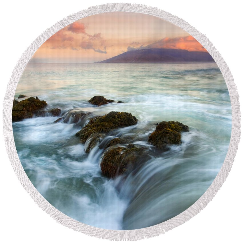 Sunrise Round Beach Towel featuring the photograph Sunrise Drain by Mike Dawson