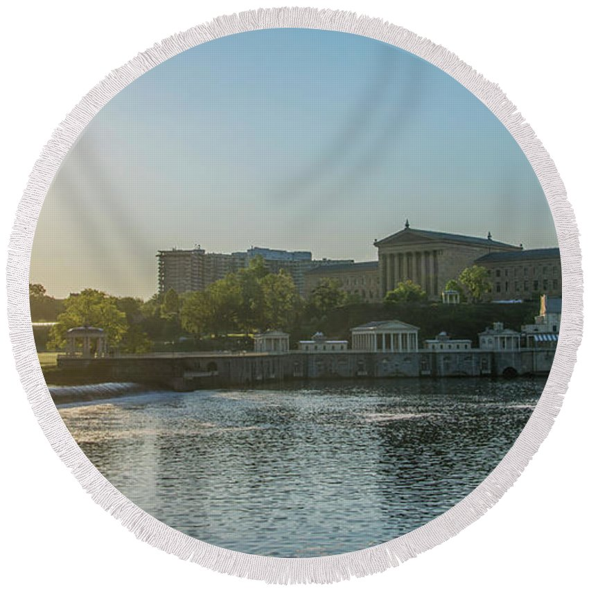 Sunrise Round Beach Towel featuring the photograph Sunrise - Fairmount Waterworks And Philadelphia Art Museum by Bill Cannon