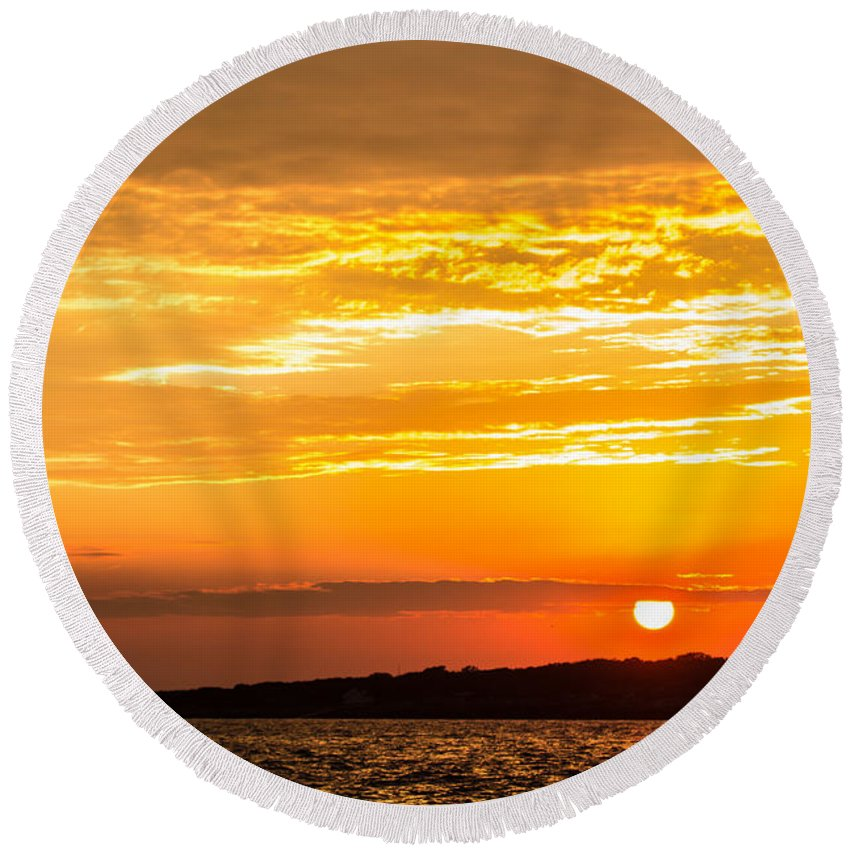 Lighthouse Round Beach Towel featuring the photograph Sunrise Field Goal by Tim Kirchoff