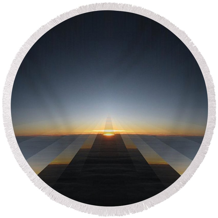 Sunrise Round Beach Towel featuring the digital art Sunrise From 30k 3 by Tim Allen