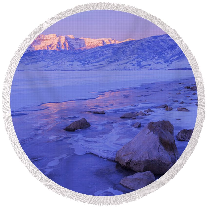 Lake Round Beach Towel featuring the photograph Sunrise Ice Reflection by Chad Dutson