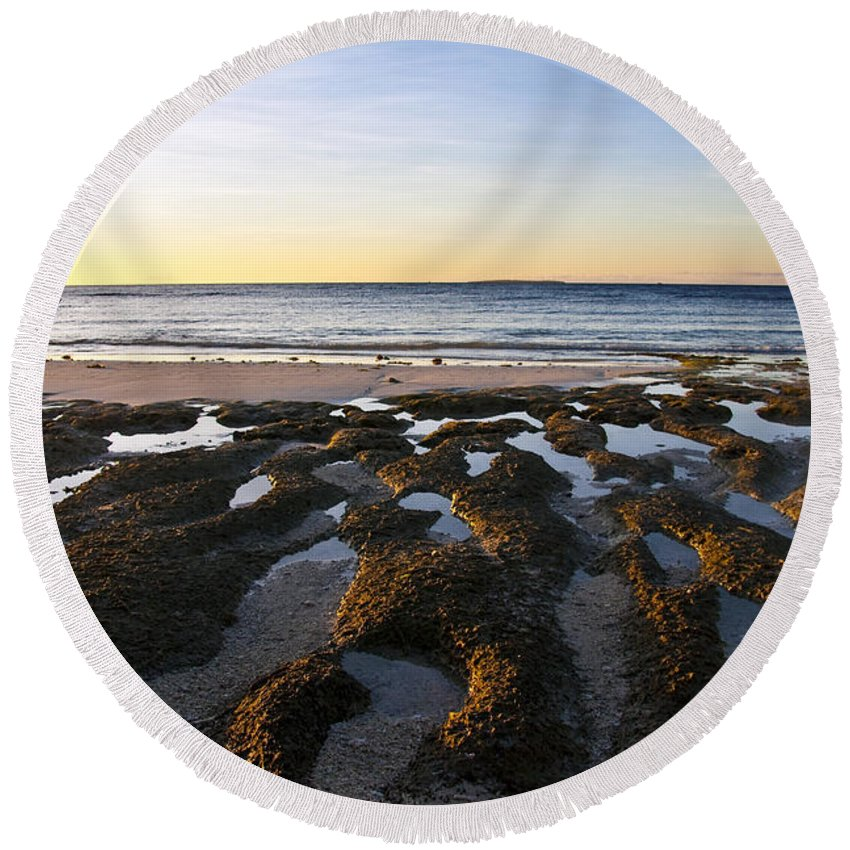 Nature Round Beach Towel featuring the photograph Sunrise In Bohol by George Cabig