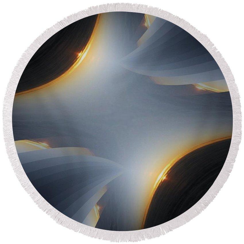 Sunrise Round Beach Towel featuring the digital art Sunrise In Fractal by Tim Allen