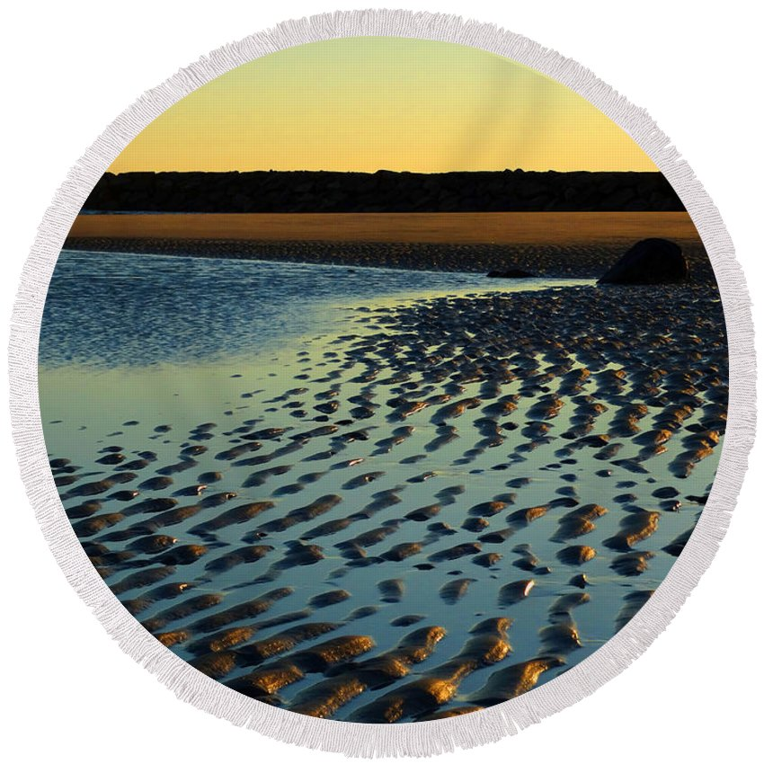 Beach Round Beach Towel featuring the photograph Sunrise In Gold by Dianne Cowen