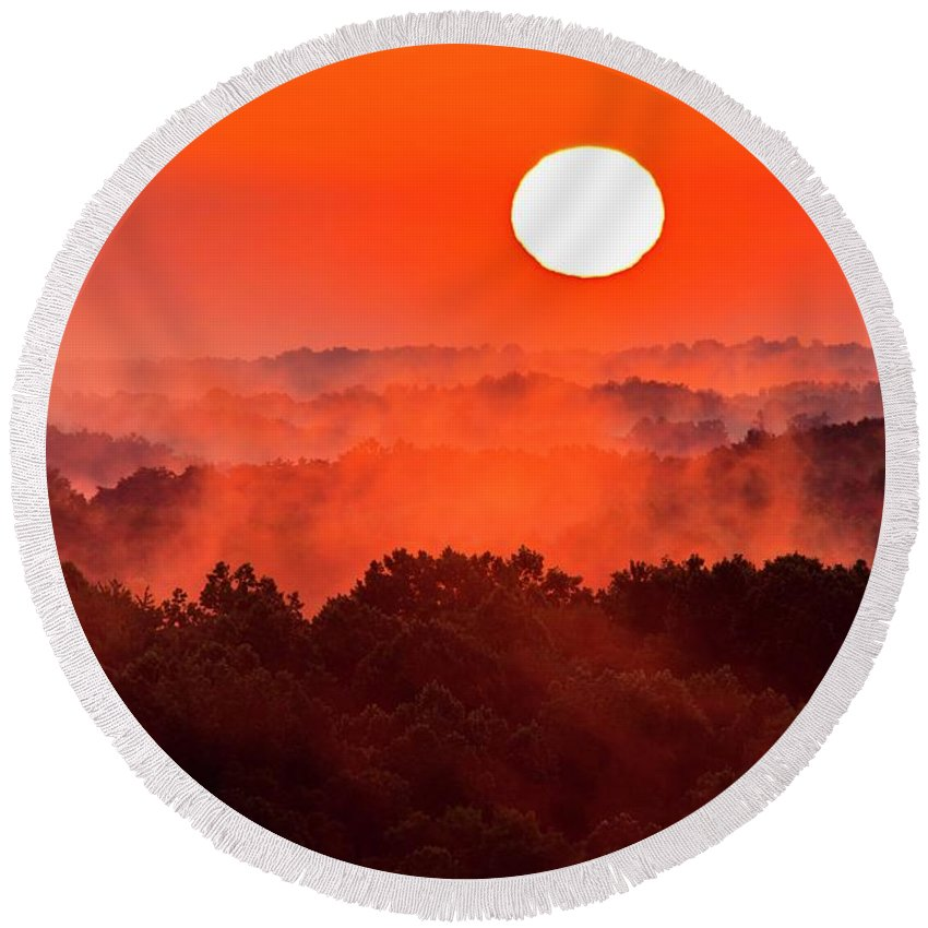 Ohio Round Beach Towel featuring the photograph Sunrise In Hocking State Forest by Larry Knupp