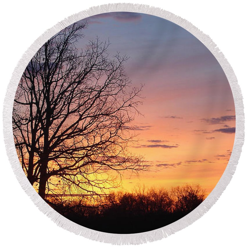 Tree Black Orange Round Beach Towel featuring the photograph Sunrise In Illinois by Luciana Seymour
