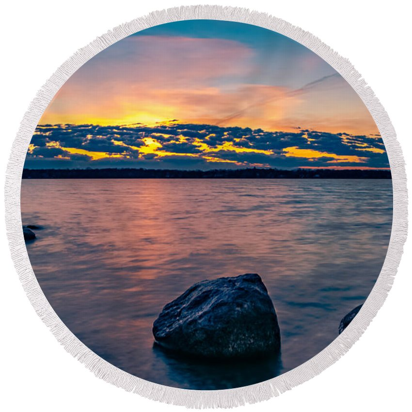 Hdr Round Beach Towel featuring the photograph Sunrise In Motion by Lowlight Images