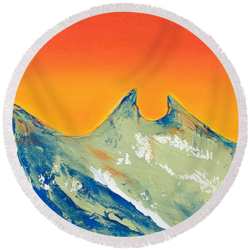 Mountain Painting Round Beach Towel featuring the painting Sunrise La Silla by Kandyce Waltensperger