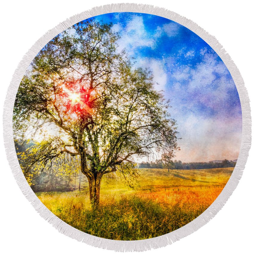 Appalachia Round Beach Towel featuring the photograph Sunrise Meadow by Debra and Dave Vanderlaan