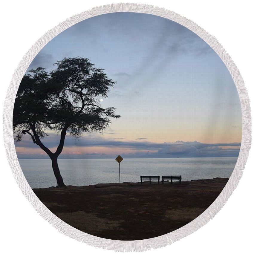 Sunrise Round Beach Towel featuring the photograph Sunrise, Moonfall by Samantha Peel